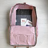 Рюкзак Kanken Fjallraven Classic 16л Розовый ( пудра ) канкен с кожаными ручками школьный, портфель Pink, фото 7