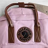 Рюкзак Kanken Fjallraven Classic 16л Розовый ( пудра ) канкен с кожаными ручками школьный, портфель Pink, фото 8