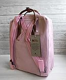 Рюкзак Kanken Fjallraven Classic 16л Розовый ( пудра ) канкен с кожаными ручками школьный, портфель Pink, фото 10