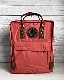 Рюкзак Kanken Fjallraven Classic 16л Червоний канкен з коричневими шкіряними ручками шкільний портфель Red, фото 2