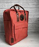 Рюкзак Kanken Fjallraven Classic 16л Червоний канкен з коричневими шкіряними ручками шкільний портфель Red, фото 3