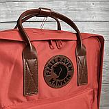 Рюкзак Kanken Fjallraven Classic 16л Червоний канкен з коричневими шкіряними ручками шкільний портфель Red, фото 4