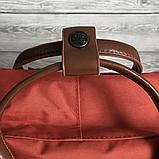 Рюкзак Kanken Fjallraven Classic 16л Червоний канкен з коричневими шкіряними ручками шкільний портфель Red, фото 5