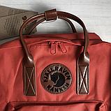 Рюкзак Kanken Fjallraven Classic 16л Червоний канкен з коричневими шкіряними ручками шкільний портфель Red, фото 8