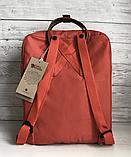 Рюкзак Kanken Fjallraven Classic 16л Червоний канкен з коричневими шкіряними ручками шкільний портфель Red, фото 9