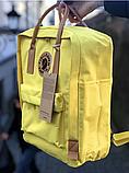 Рюкзак Kanken Fjallraven Classic 16л Желтый канкен с коричневыми кожаными ручками школьный, портфель yellow, фото 3