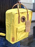 Рюкзак Kanken Fjallraven Classic 16л Желтый канкен с коричневыми кожаными ручками школьный, портфель yellow, фото 4
