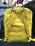 Рюкзак Kanken Fjallraven Classic 16л Желтый канкен с коричневыми кожаными ручками школьный, портфель yellow, фото 5