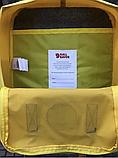 Рюкзак Kanken Fjallraven Classic 16л Желтый канкен с коричневыми кожаными ручками школьный, портфель yellow, фото 6