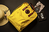Рюкзак Kanken Fjallraven Classic 16л Желтый канкен с коричневыми кожаными ручками школьный, портфель yellow, фото 7