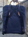 Рюкзак Kanken Fjallraven Classic 16л Синий канкен с коричневыми кожаными ручками школьный, портфель blue, фото 4