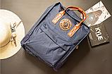 Рюкзак Kanken Fjallraven Classic 16л Синий канкен с коричневыми кожаными ручками школьный, портфель blue, фото 7