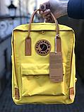Рюкзак Kanken Fjallraven Classic 16л Синий канкен с коричневыми кожаными ручками школьный, портфель blue, фото 10