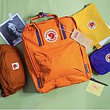 Рюкзак Kanken Fjallraven Classic 16л Помаранчевий канкен з райдужними ручками шкільний портфель Orange, фото 2