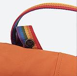 Рюкзак Kanken Fjallraven Classic 16л Помаранчевий канкен з райдужними ручками шкільний портфель Orange, фото 4