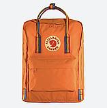 Рюкзак Kanken Fjallraven Classic 16л Помаранчевий канкен з райдужними ручками шкільний портфель Orange, фото 5
