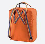 Рюкзак Kanken Fjallraven Classic 16л Помаранчевий канкен з райдужними ручками шкільний портфель Orange, фото 6
