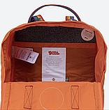 Рюкзак Kanken Fjallraven Classic 16л Помаранчевий канкен з райдужними ручками шкільний портфель Orange, фото 7
