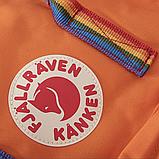 Рюкзак Kanken Fjallraven Classic 16л Помаранчевий канкен з райдужними ручками шкільний портфель Orange, фото 8