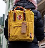 Рюкзак Kanken Fjallraven Classic 16л Жовтий канкен з райдужними ручками шкільний портфель yellow, фото 3