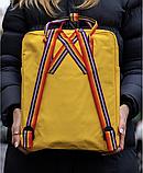 Рюкзак Kanken Fjallraven Classic 16л Жовтий канкен з райдужними ручками шкільний портфель yellow, фото 4