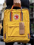 Рюкзак Kanken Fjallraven Classic 16л Жовтий канкен з райдужними ручками шкільний портфель yellow, фото 6