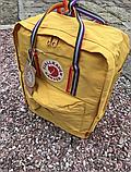 Рюкзак Kanken Fjallraven Classic 16л Жовтий канкен з райдужними ручками шкільний портфель yellow, фото 7