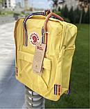 Рюкзак Kanken Fjallraven Classic 16л Жовтий канкен з райдужними ручками шкільний портфель yellow, фото 9