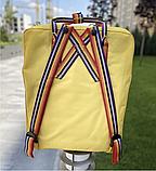Рюкзак Kanken Fjallraven Classic 16л Жовтий канкен з райдужними ручками шкільний портфель yellow, фото 10