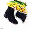 Люксові чорні замшеві ботильйони жіночі черевики челсі на середньому каблуці, фото 10