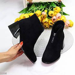 Люксовые черные замшевые женские ботинки ботильоны челси на среднем каблуке