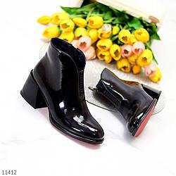 Люксовые черные глянцевые женские ботинки ботильоны челси на среднем каблуке