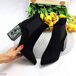 Люксовые черные замшевые женские ботинки ботильоны челси на высоком фигурном каблуке