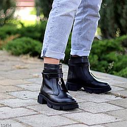 Дизайнерские кожаные черные женские ботинки натуральная кожа низкий ход