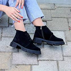 Замшевые черные женские демисезонные ботинки натуральная замша на флисе