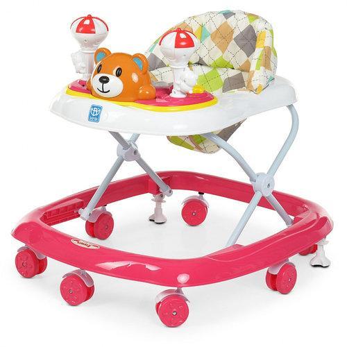 Детские ходунки для девочек с регулировкой высоты, звуком и светом «Bambi» M 3656-2, цвет розовый