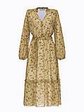 Шифоновое платье-миди с принтом и воланом по низу в цвете хаки, фото 5