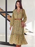 Шифоновое платье-миди с принтом и воланом по низу в цвете хаки, фото 3