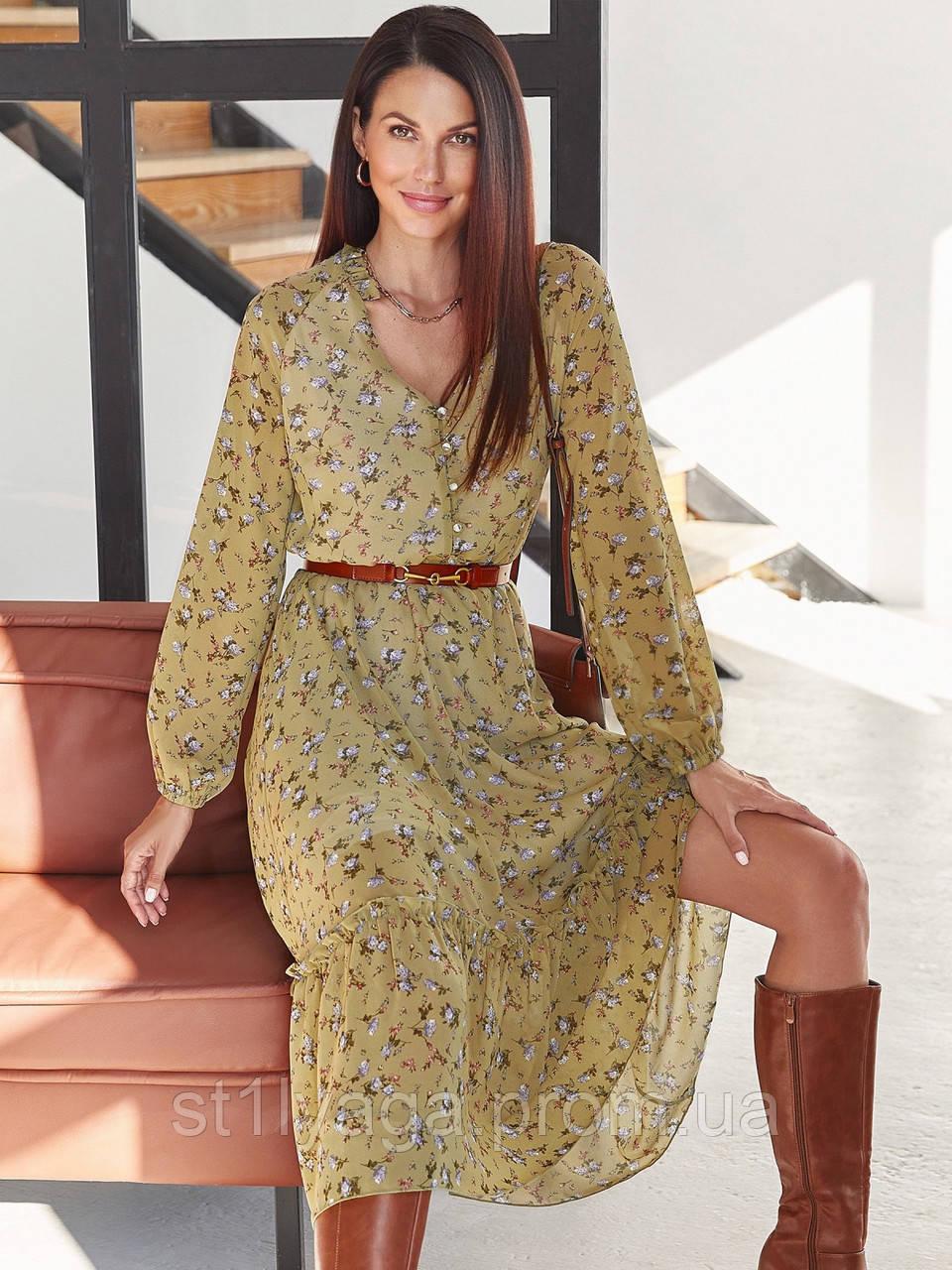 Шифоновое платье-миди с принтом и воланом по низу в цвете хаки
