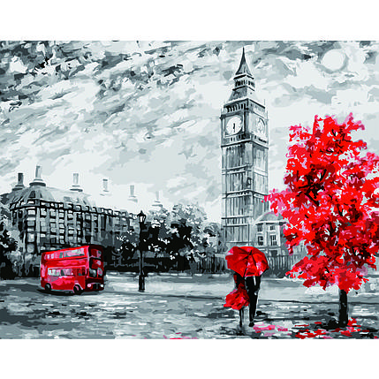 Картина по Номерам Лондон в серых тонах 40х50см Starteg в коробке, фото 2