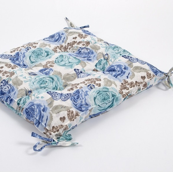 Подушка на стілець Lotus 45*45 - Dora з зав'язками бірюзовий