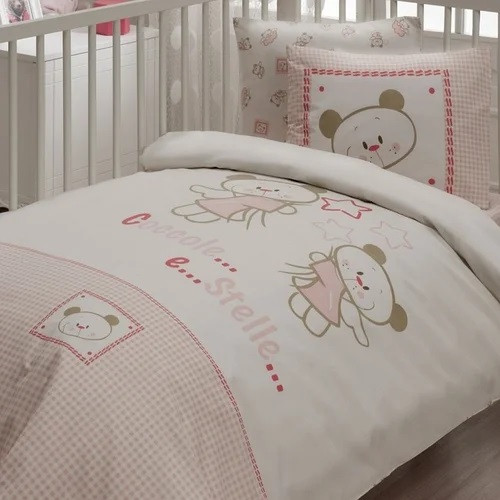 Постільна білизна для немовлят Karaca Home - Stelle рожевий ранфорс