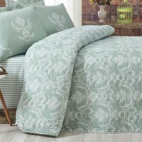 Покривало стеганное з наволочкою Eponj Home - Pure suyesil зелений 160*220