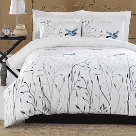 Постільна білизна Lotus Home Perfect - Birds блакитний сімейний
