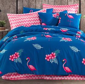 Постільна білизна Lotus Home Perfect - Flamingo блакитний сімейний