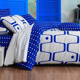 Постільна білизна Eponj Home - Geo Mavi блакитний ранфорс євро