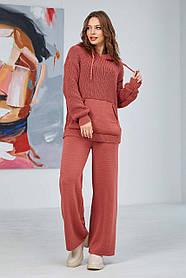 В'язаний Костюм, светр з модними брюками-кльош, розмір оверсайз 44-50