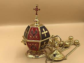 Кадило в красно-бордовом декоре эмалью