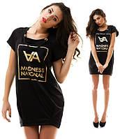 Платье-туника черного цвета с золотым принтом