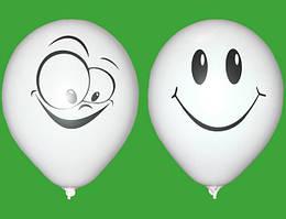 """Воздушные шарики Улыбка пастель белая шелкография 12""""(30 см) купить оптом ТМ Gemar"""